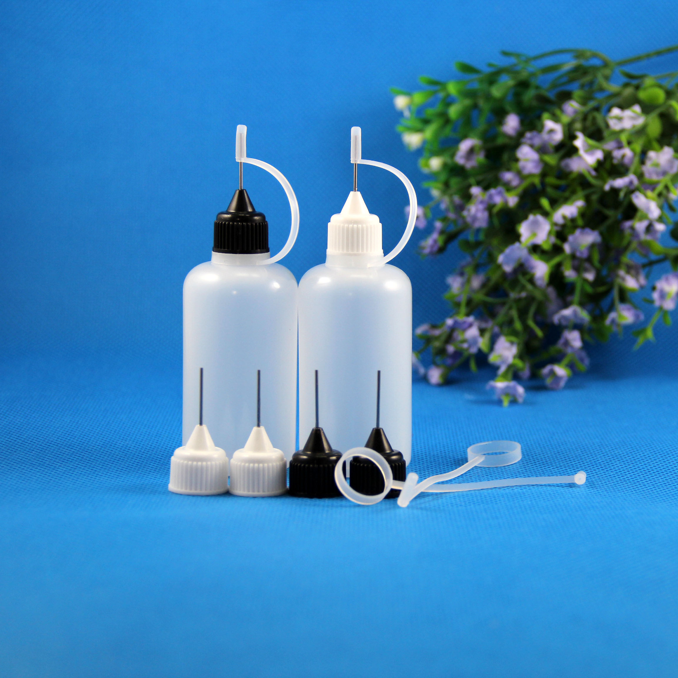 Lot 100 Pcs 50 ml 5/3 OZ Plastic Needle Dropper Bottles Safe Tip